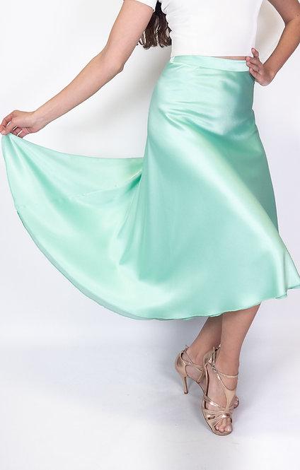 Flowy & Satin Mint Green Satin Klosh Tango Skirt