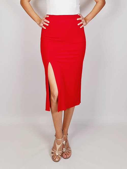 Chloe - Red Ruched Tango Skirt with Tail