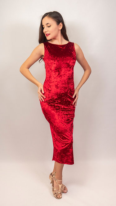 Lily - Red Crushed Velvet Tango Dress