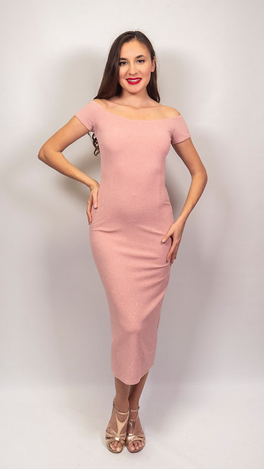 Elpida - Pink Off Shoulder Shiny Tango Dress