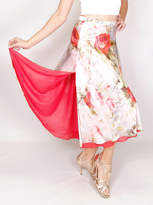 Flowy & Satin -  Coral Rose / Light Grey Full Klosh Tango Skirt
