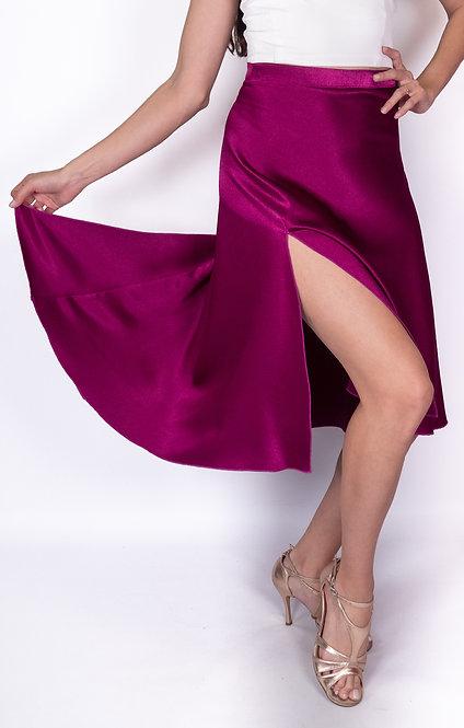 Flowy & Satin Dark Fuchsia Satin Klosh Tango Skirt
