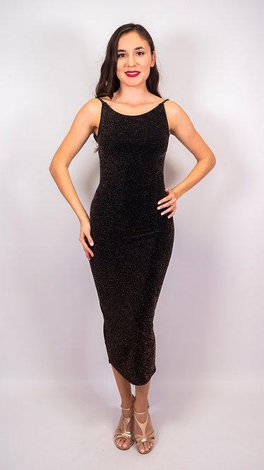 Penia- Black / Gold Shiny Twist Back Tango Dress