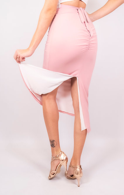 Naomi White & Rose Pink Ruched Reversable Tango Skirt
