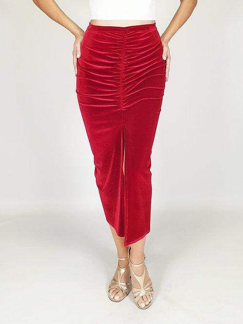 Claire - Red Velvet Tango Skirt