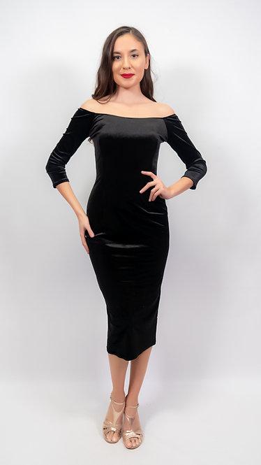 Amelia Black Velvet Off Shoulder Tango Dress