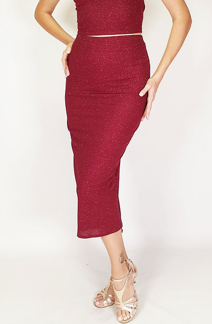 Euporia - Maroon Shiny Tango Skirt