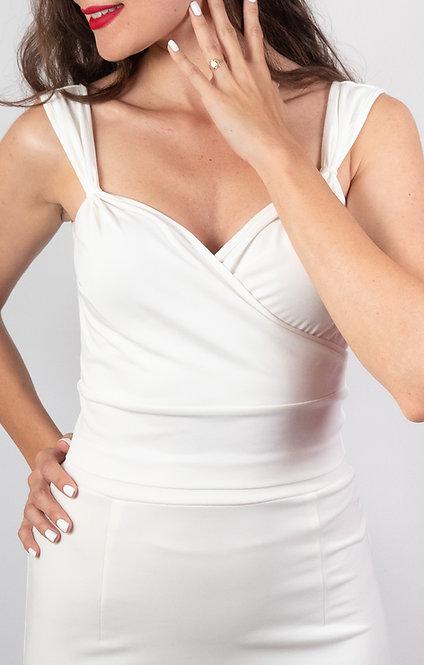Milla - White Double Breasted Tango Top