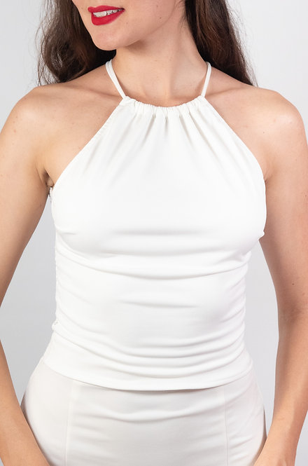 Sophie - White  Lace Back Tango Top