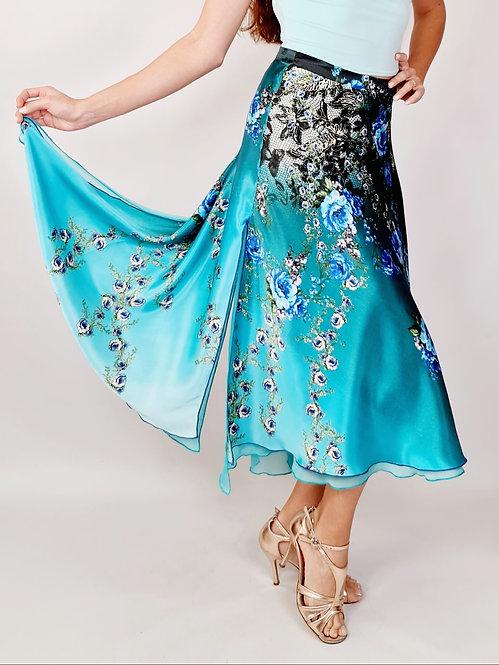 Flowy & Satin - Blue Rose Full Klosh Tango Skirt