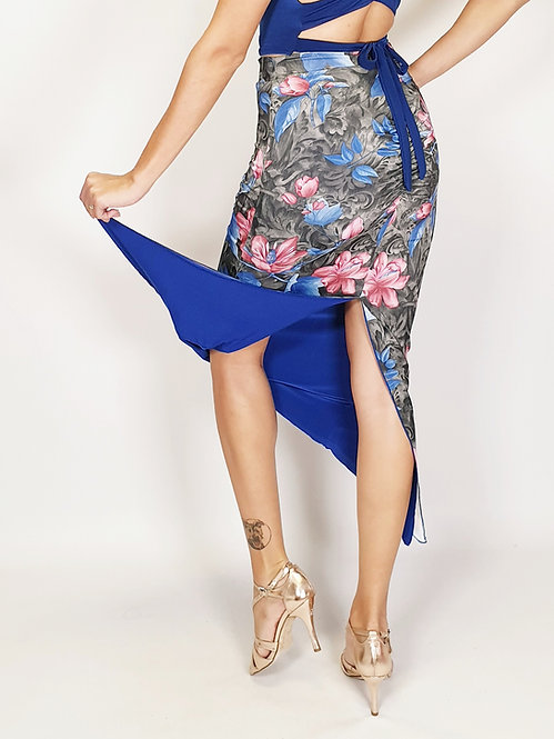 Romantic Paris Floral & Sax Blue Reversible Tango Skirt