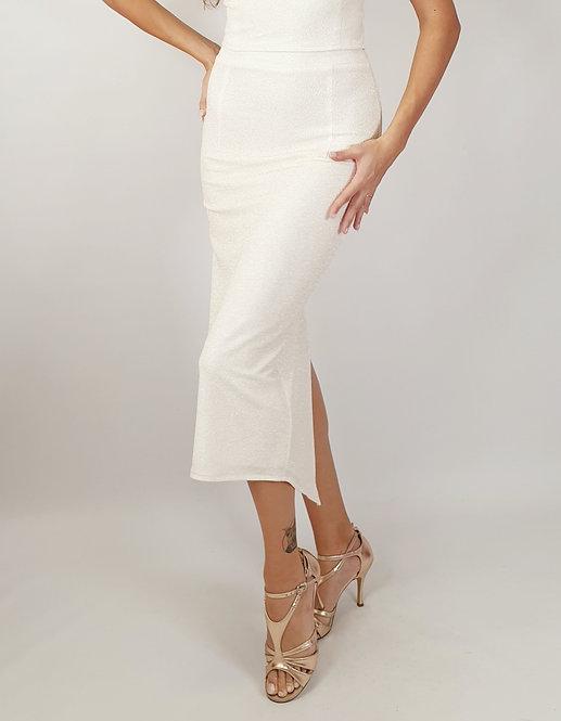 Diana -Ivory Ruched Shiny Tango Skirt