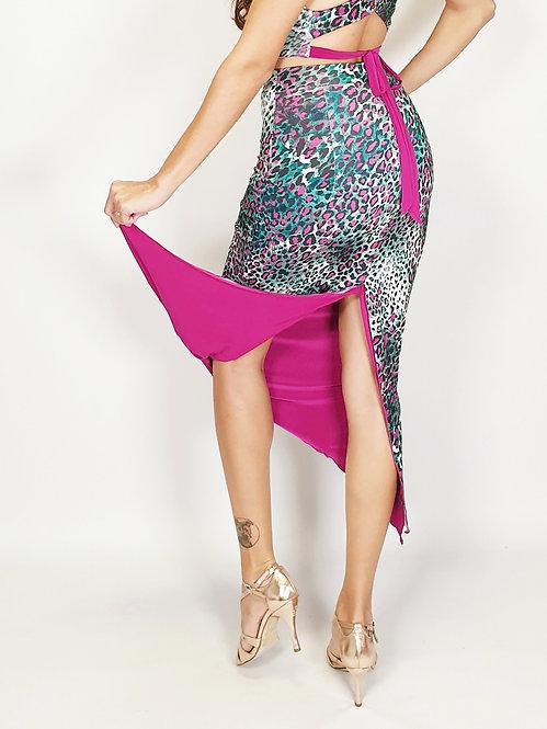 Leopard Babe Animalic & Fuschia Reversible Tango Skirt