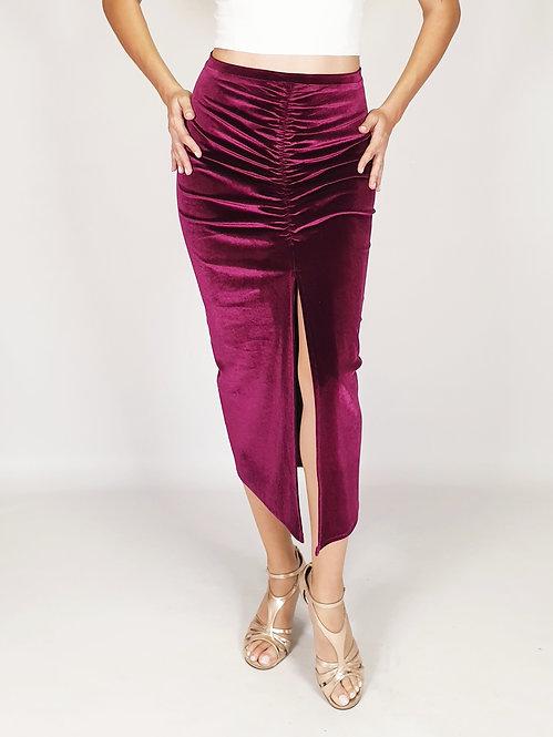 Claire - Dark Fuchsia Velvet Tango Skirt