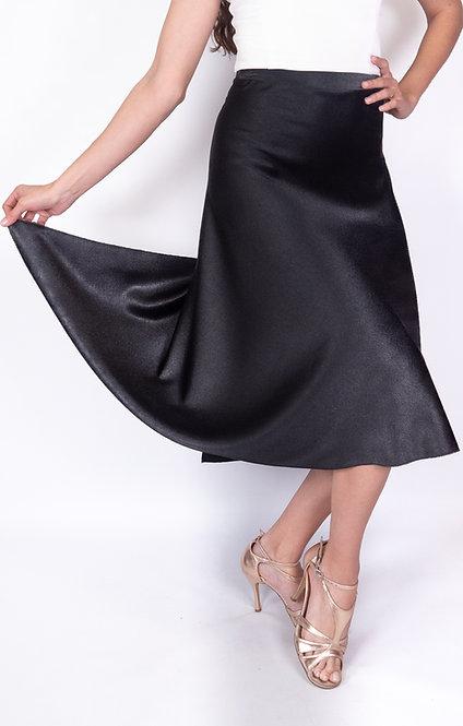 Flowy & Satin Black Satin Klosh Tango Skirt