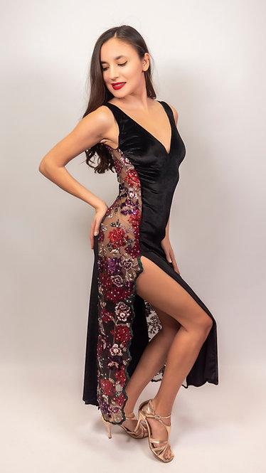 Diana - Black Velvet Tango Show Dress
