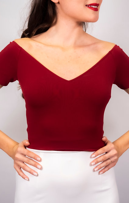 Valentina - Maroon Off Shoulder Tango Top