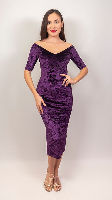 Angela - Purple  Velvet Off Shoulder Tango Dress