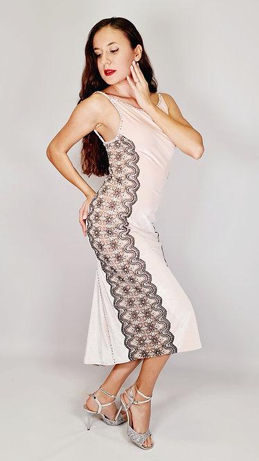 Eva - Nude Pink Velvet Tango Show Dress