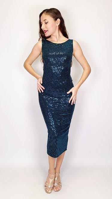 Iris - Dark Petroleum Sequin Closed Neck Sequin Tango Dress