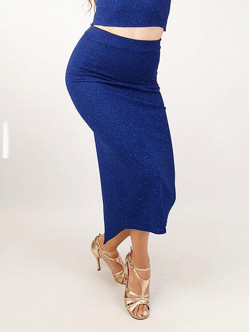 Gaia - Azure Blue Shiny Tango Skirt
