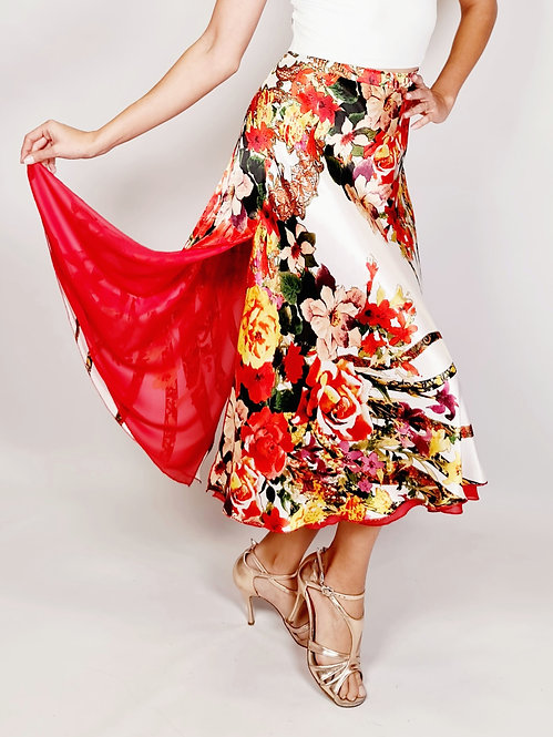 Flowy & Satin - Poppy Flower White Full Klosh Tango Skirt