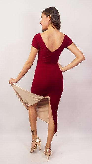 Nyla Maroon & Beige Reversible  Tango Dress