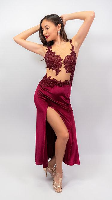 Roxana - Maroon Velvet Show Dress
