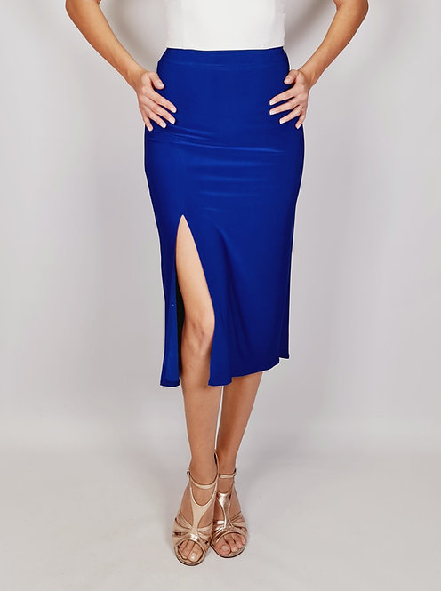 Chloe - Sax Blue Ruched Tango Skirt with Tail