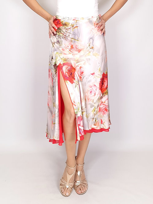 Flowy & Satin -  Coral Rose / Light Grey Half Klosh Tango Skirt