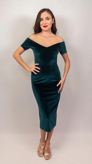 Amelia - Emerald Green Velvet Off Shoulder Tango Dress