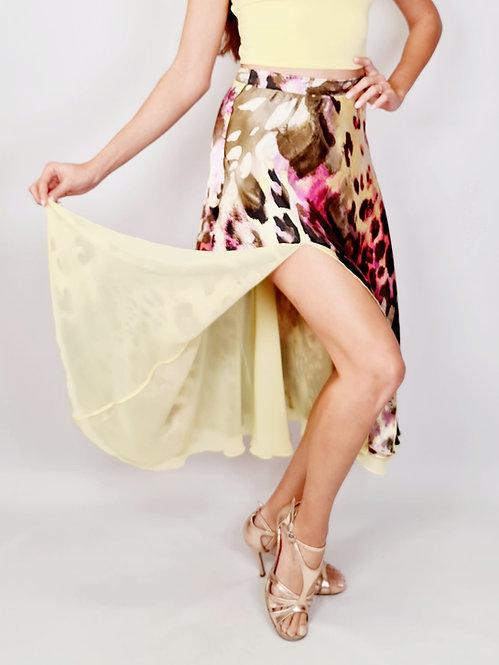 Flowy &  Satin -  Sweet Leopard Full Klosh Tango Skirt
