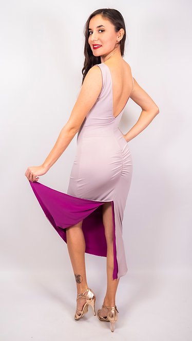 Emily - Grey & Fuchsia  Reversible  Tango Dress