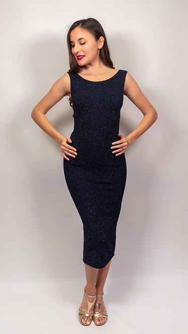 Lyssa - Navy Blue Closed Neck Shiny Tango Dress