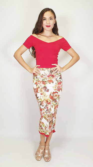 Top: Valentina Red   - Skirt: Casablanca Wind Floral & Red Ruched