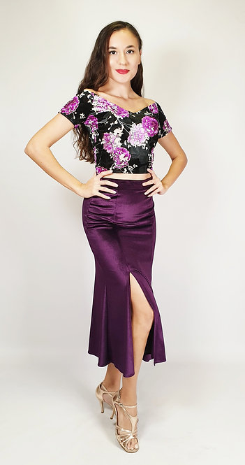 Top : Valentina - Purple Flower  Skirt : Alicia - Purple Velvet Tango Skirt