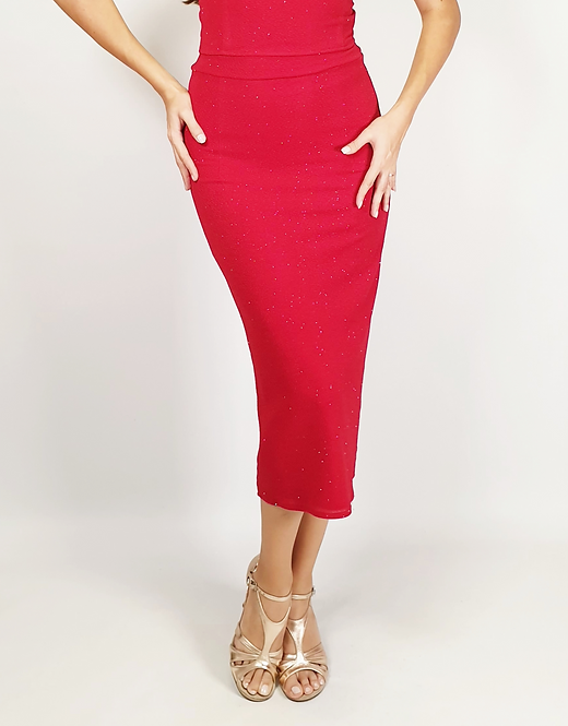 Aphrodite - Red Ruched Shiny Tango Skirt