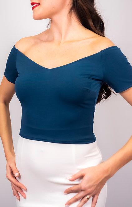 Eliza Petrol Blue Off Shoulder Tango Top