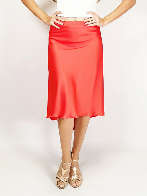 Flowy & Satin - Coral / Orange Half Klosh Satin Tango Skirt