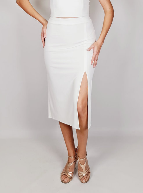 Chloe - White Ruched Tango Skirt with Tail