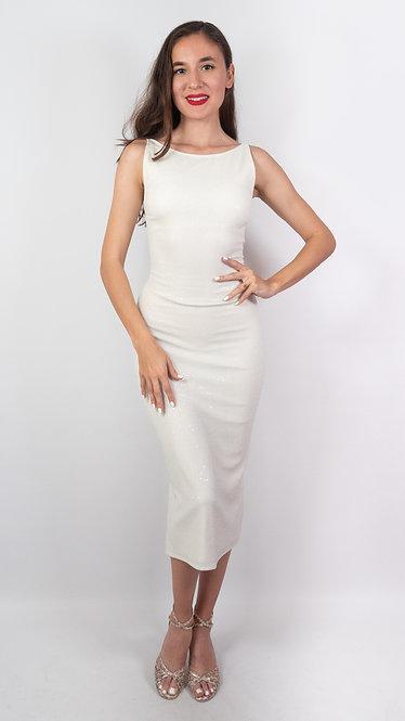 Hemera - White Sequin Twist Back Tango Dress