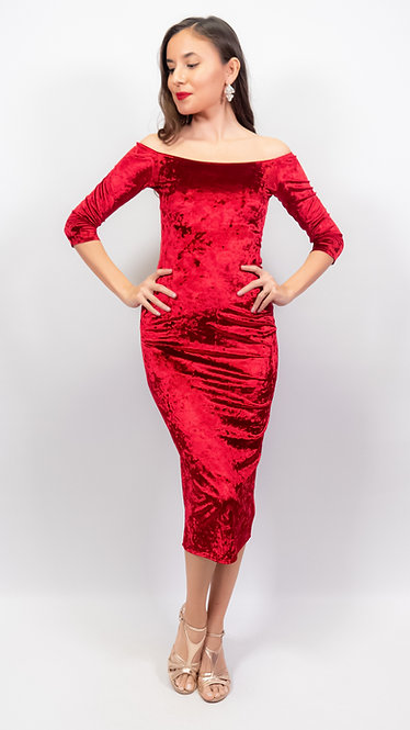 Amelia Red Crushed Velvet Tango Dress