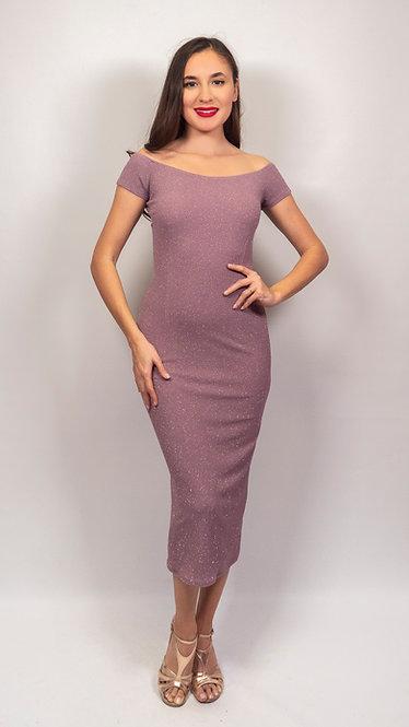 Danae - Deep Taupe  Off Shoulder Shiny Tango Dress