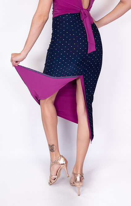 Colorful Dotted Navy Blue & Fuschia Reversable Tango Skirt