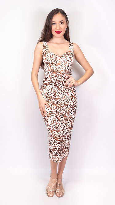 Brown Cheetah - Animalic & Black Reversible Tango Dress
