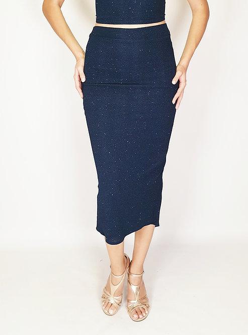 Lysaa - Navy Blue Shiny Tango Skirt