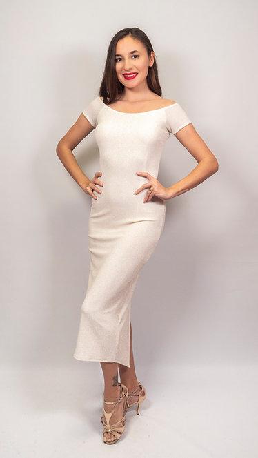 Diana - Ivory Off Shoulder Shiny Tango Dress