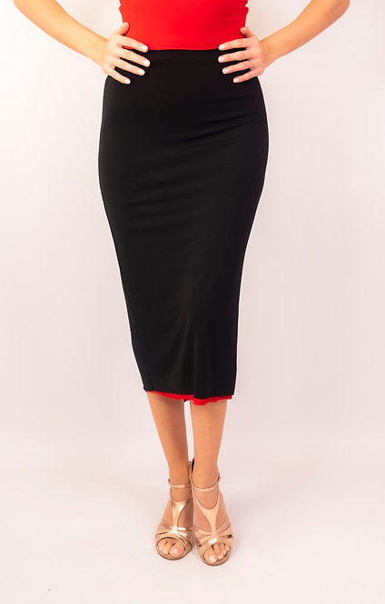 Laila Black & Red Fish Tail Ruched Tango Skirt