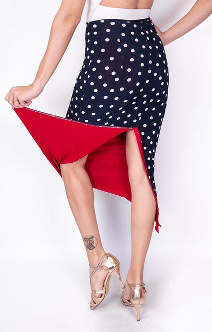 White Dotted Navy Blue & Red Reversable Tango Skirt
