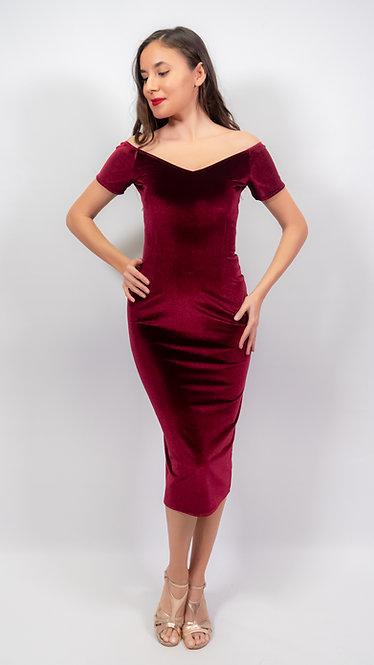 Amelia Maroon Velvet Off Shoulder Tango Dress